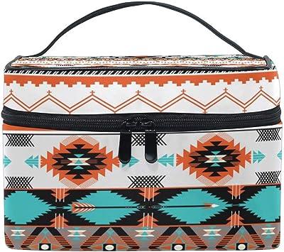 Organizador de Bolsa de Maquillaje Grande Tribal Étnico Estampado Azteca Estuche de cosméticos Bolsa de Almacenamiento de artículos de tocador Bolsa de Cremallera portátil Cepillo de Viaje: Amazon.es: Equipaje