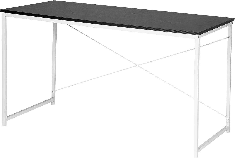WOLTU Escritorio de Computadora Muebles de Oficina Mesa de PC Mesa de Oficina Ordenador con Diseño Industrial, Madera y Acero 120x60x70cm Negro+Blanco TSB08sz
