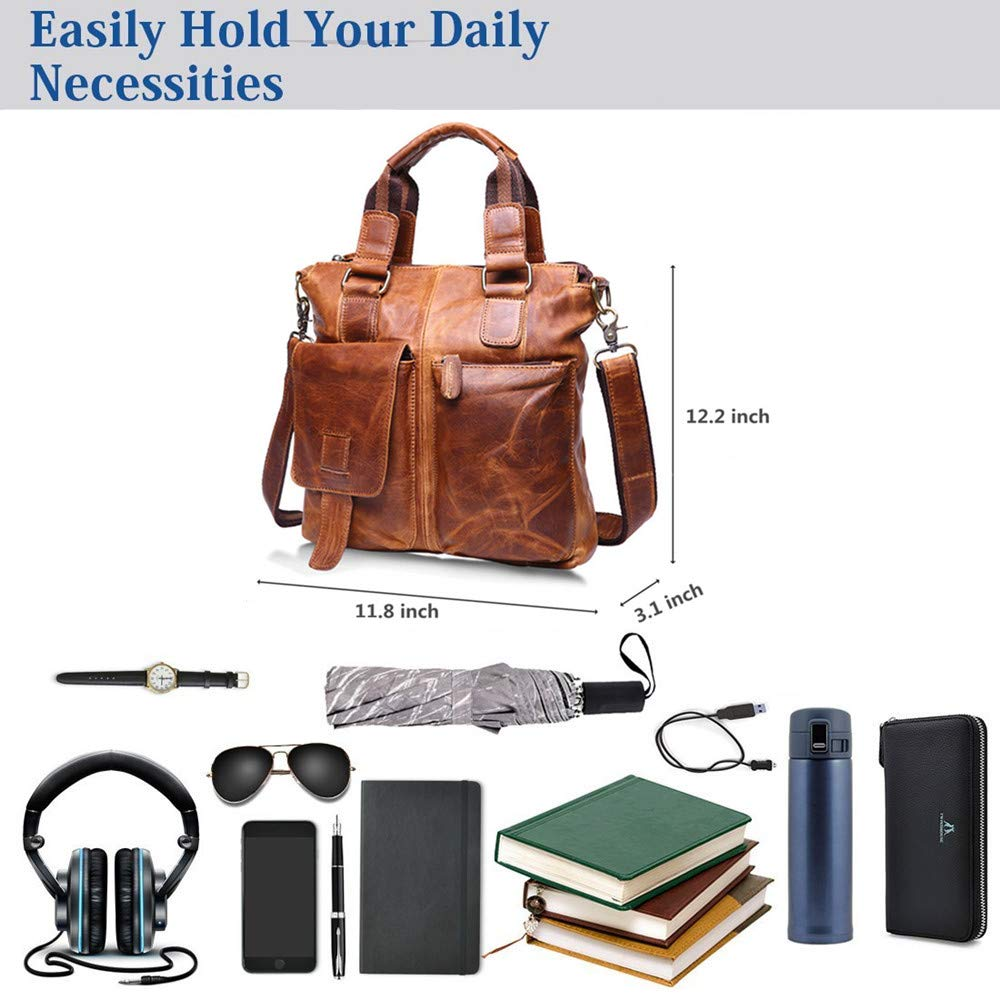Genuine Leather Shoulder Crossbody Bag Handmade Messenger Bag School Bag Chocolate Mens Messenger Bag
