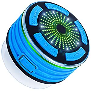 Bluetooth Speaker with FM Radio, DLAND IPX7 Waterproof Shower Radios with LED Mood lights, USB Rechargeable. ( Blue and Black )