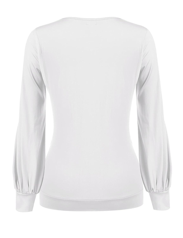 a6281d19ed74 CHIGANT Damen Langarmshirt Elegant Casual Oberteile Drapiert Basic Pullover  mit Wickel-Optik S-XXL  Amazon.de  Bekleidung