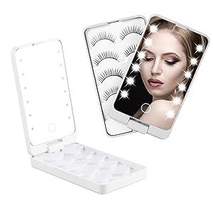 Eyelash Holder Case Organizer, False Lash Organizers and Storage with LED Light, 4 Tier Eyelash Box Container with Makeup Mirror for False Eyelashes(White)