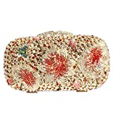 Digabi Flower and Butterfly Women Crystal Evening Clutch Bags (one size, red-gold)