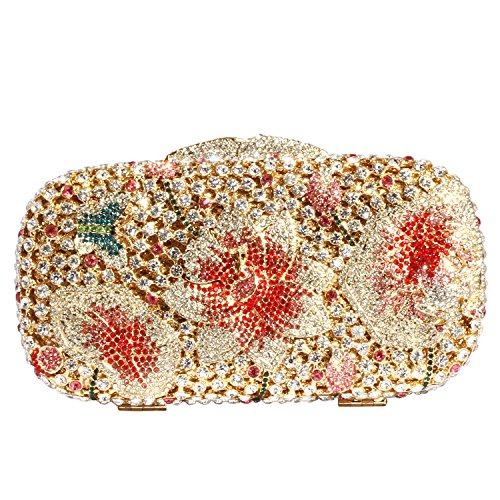 Digabi Flower and Butterfly Women Crystal Evening Clutch Bags (one size, red-gold) by Digabi