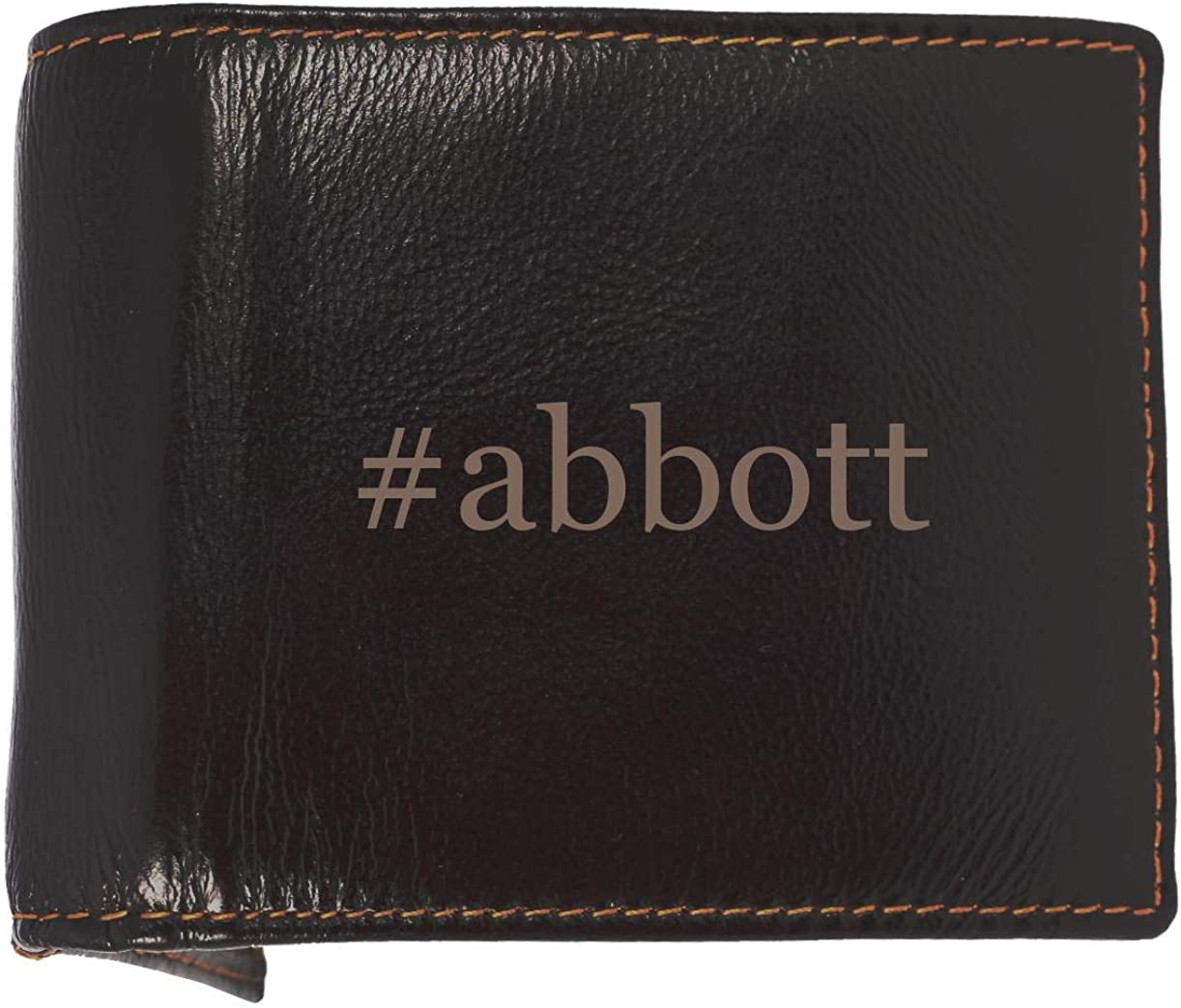 #Abbott - Soft Hashtag Cowhide Genuine Engraved Bifold Leather Wallet