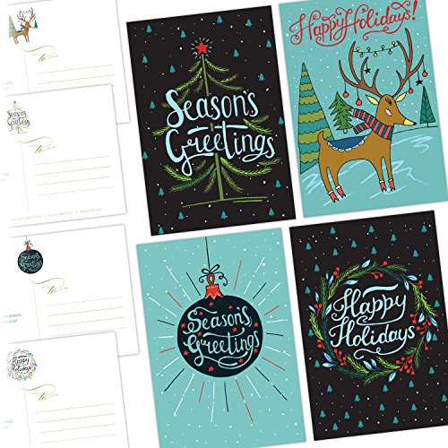 Christmas Cards One Jade Lane  Merry Holiday POSTCARDS  40 Ct Holiday Cards  4 Designs/10 of each  Heavy Stock  Postage Saver
