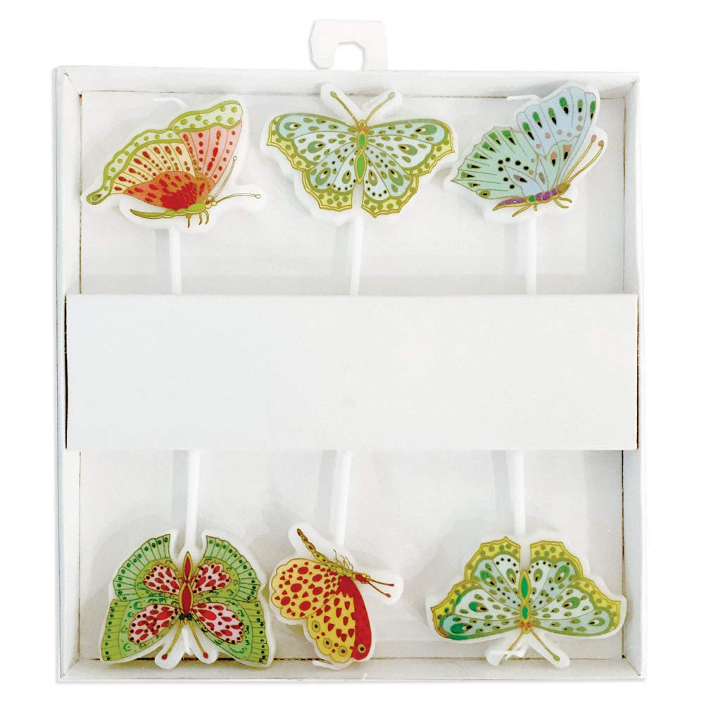 Caspari Parvaneh's Butterflies Die-Cut Party & Birthday Candles, 2 Packages of 6 Candles