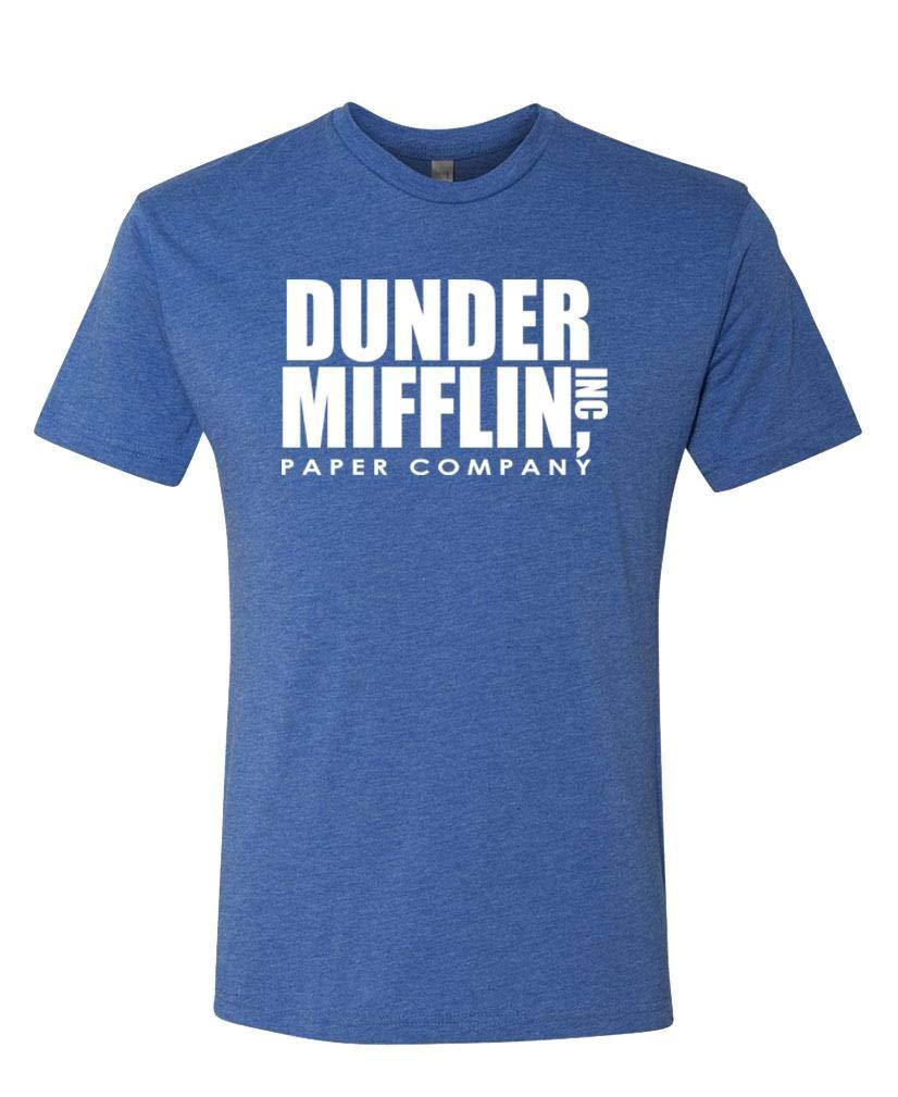 Dunder Mifflin - Office Show Paper Company - Unisex Next Level Tee, L, TRI-Blend Royal