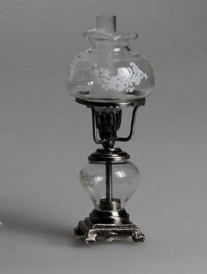 Melody Jane Puppenhaus Öl Lampe Antik Silber transparentes Glas 12V Miniatur elektrische Beleuchtung