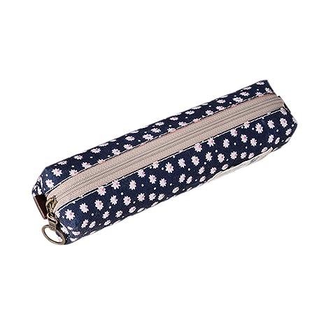 Cdet Estuche pequeño Bolso del lápiz del Cuadrado de la Flor Bolso Cuadrado Simple Creativo papelería de Tela(Marina)