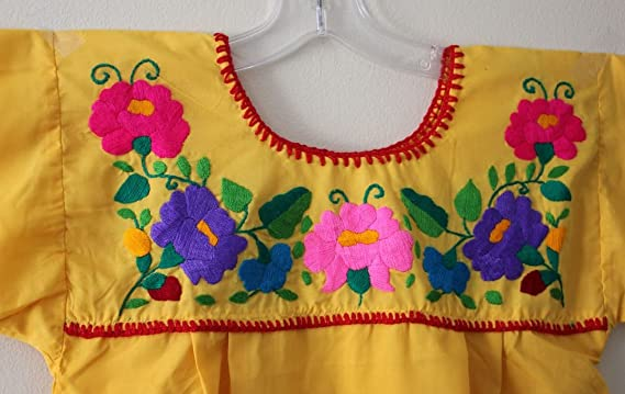 Yellow Mexican Peasant Blouse Shirt Top Size Medium Large At Amazon