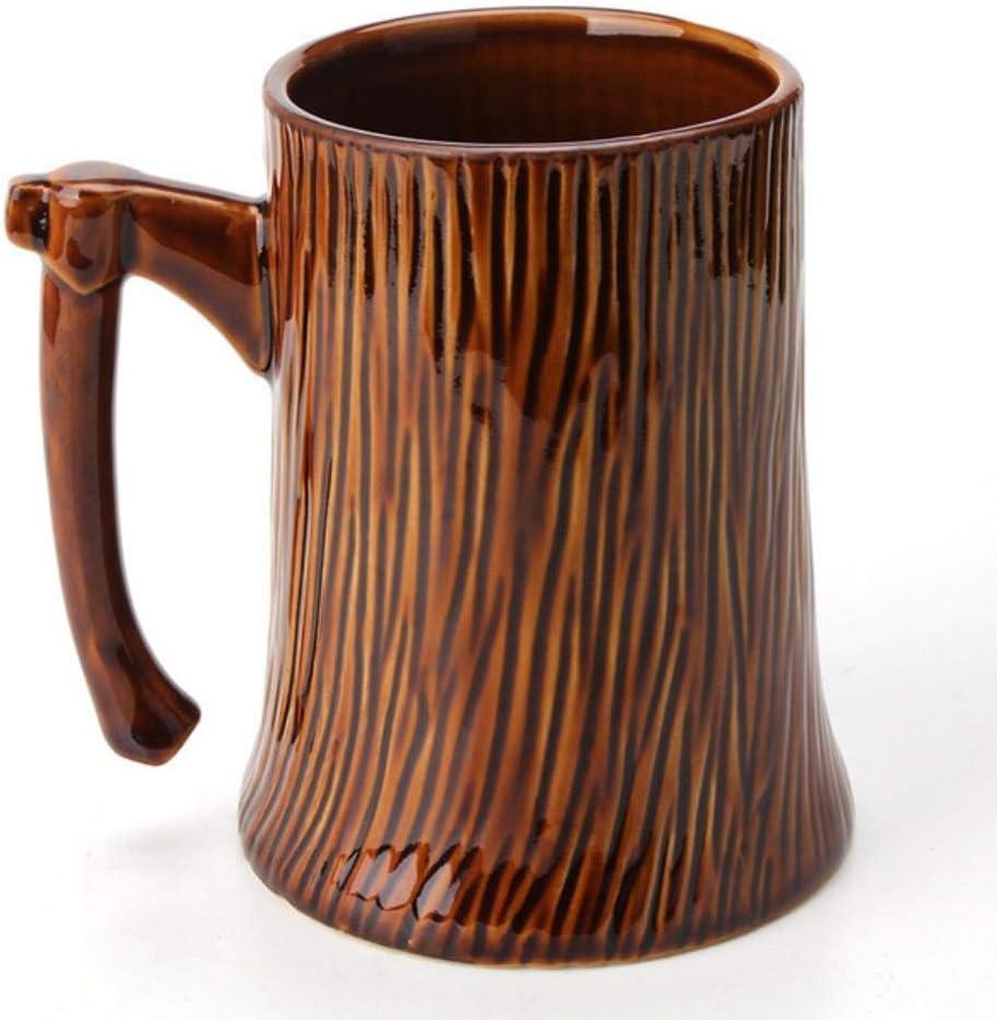 Juego de té Tazas Taza de Cerveza con Mango de Hacha en Forma de tocón Retro Taza de café de cerámica de 600 ml Taza de Leche Regalos Creativos Vasos