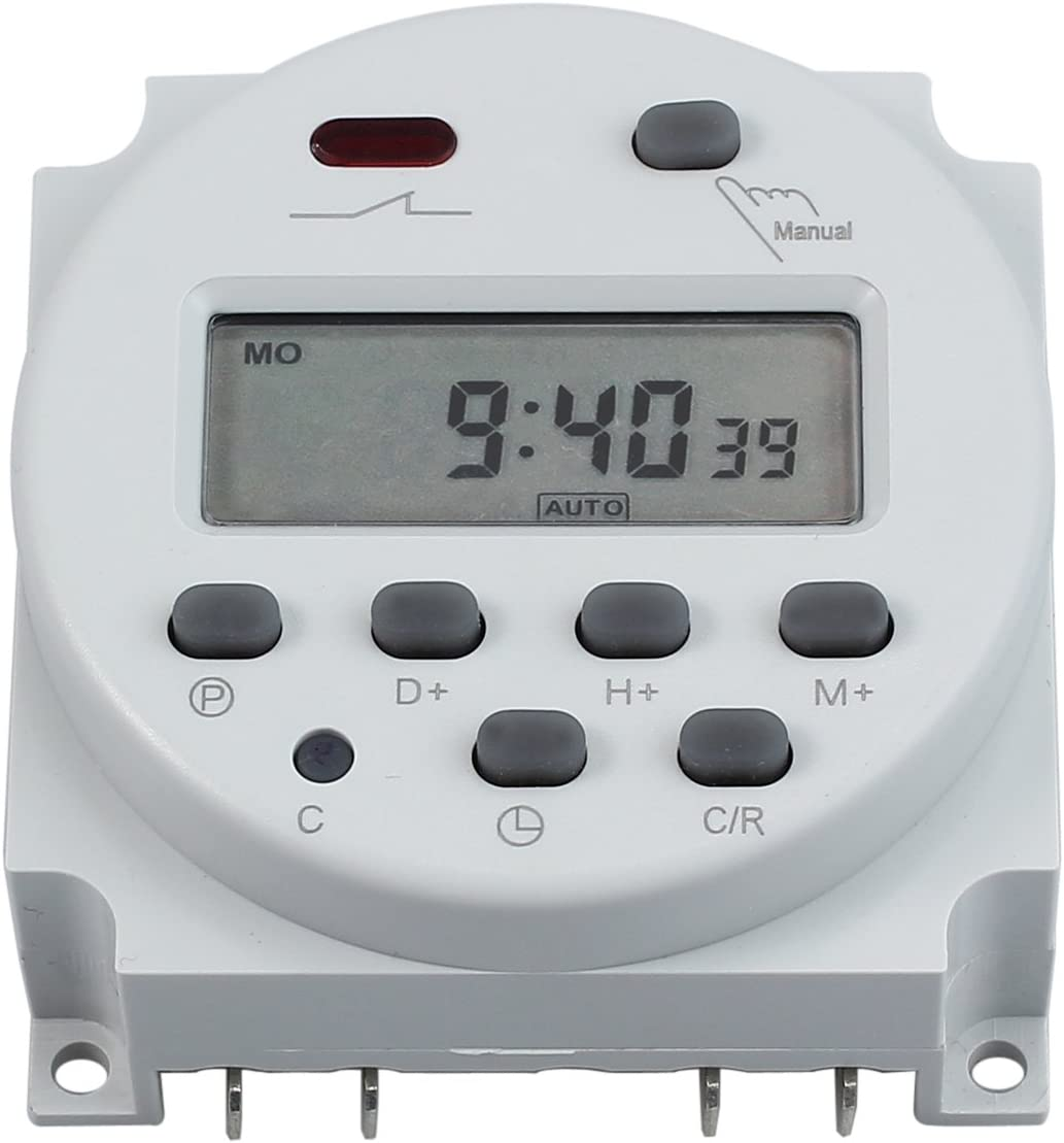 CAMWAY Digital Electronic Timer Switch DC 12V 16A LCD Time Relay Switch Programmable Timer Power Off Memory