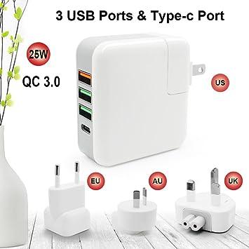Re qc3.0 Cargador rápido 4 Puerto USB Tipo C en Todo el ...