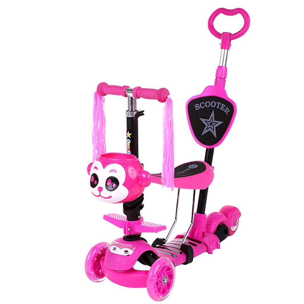 Scooter para niños de 1 a 6 años Flash para bebés Multifunción Tres en uno Latas para niños y niñas Slippery Scooter (Color : Pink)