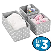mDesign Soft Fabric Dresser Drawer, Closet Storage Organizers for Child/Kids Room, Nursery, Playroom - Holds Boys, Girls, Baby Clothes, Onsies, Diapers, Wipes - Polka Dot Print, Set of 3 - Gray/White
