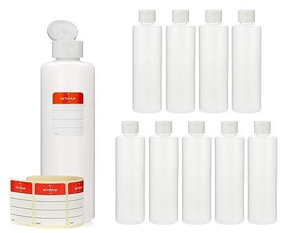 045c007d10 10 flaconi di plastica Octopus da 250 ml, bottigliette di plastica HPDE con  tappo flip