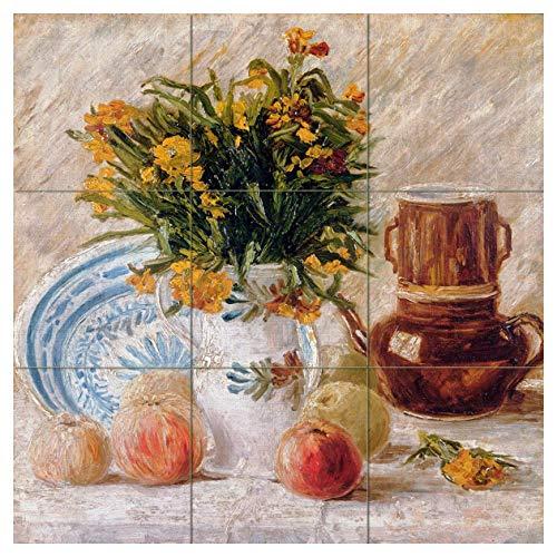 Kitchen Splashback - Tile Mural Still Life Flowers Fruits Apples by Vincent Van Gogh Kitchen Bathroom Shower Wall Backsplash Splashback 3x3 12