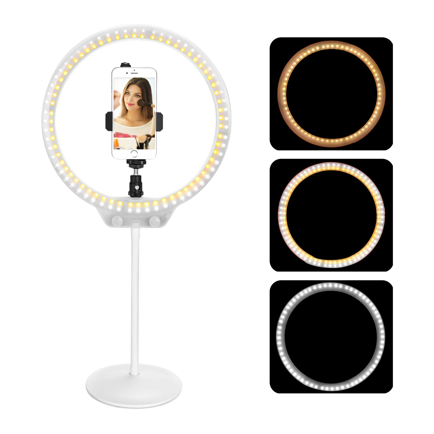 Sefile Ring Light, Zomei 10 Inches Dimmable LED Ring Light with Hose Support Desktop Stand, Table Top LED Selfie Ring Light with Phone Holder for Makeup and Self-Portrait Video Photography