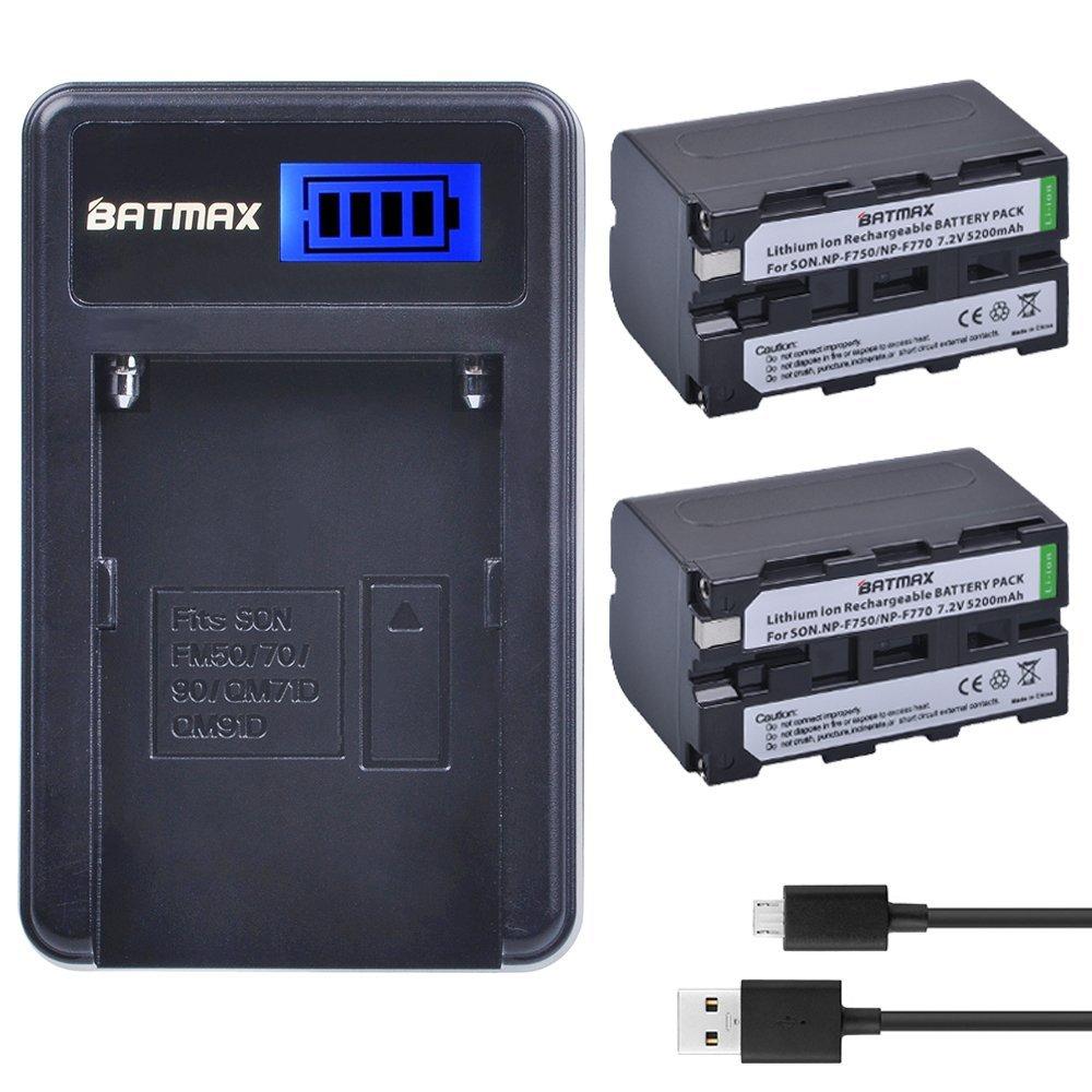 Batmax 2Packs NP-F750 Li-ion Batteries + LCD USB Battery Charger for for Sony NP F970, F750, F770, F960, F550, F530, F330, F570, CCD-SC55, TR516, TR716, TR818, TR910, TR917 Camcorders