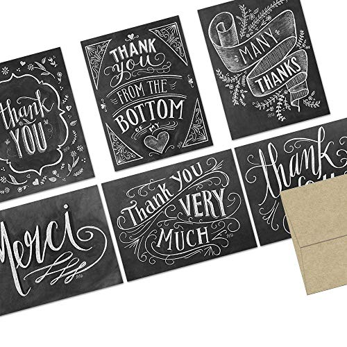 Note Card Cafe Thank You Cards with Kraft Envelopes | 72 Pack | Chalkboard Thank You Design | Blank Inside, Glossy Finish | Bulk Set for Greeting, Appreciation, Corporate