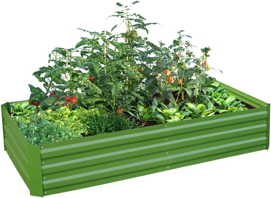 Galvanized Steel Raised Garden Bed Kit Metal Elevated Planter Box Steel Large Vegetable Flower Bed Kit for Growing (3 x 6 x 1 Ft, Green)