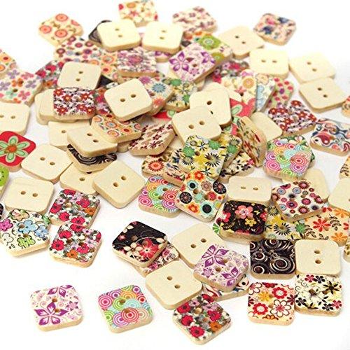 OZXCHIXU (TM) 50Pcs 2 Holes Square Wood Sewing Buttons Scrapbooking Painted Button Random Color ()