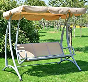 Amazon Com Outsunny Covered Outdoor Patio Swing Bench