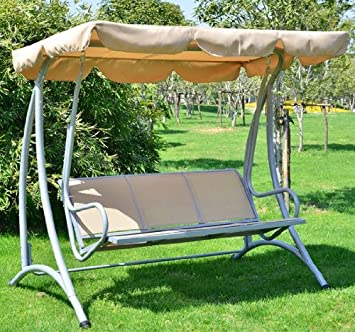 Outsunny Covered Outdoor Patio Swing Bench With Frame, Sand