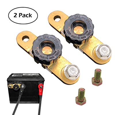 Ampper Side Post Battery Disconnect Switch, Battery Master Switch Isolator for Power Disconnect Cut Off (with Long Bolt, 2 Pack): Automotive