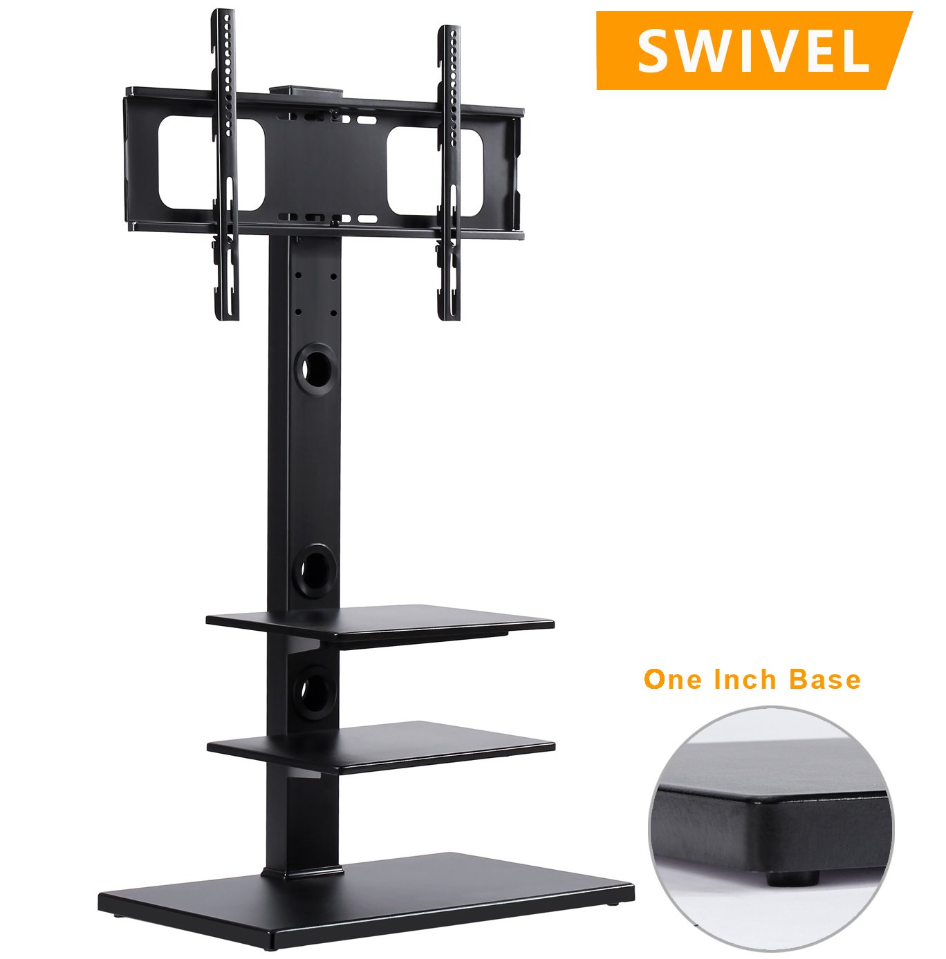 Rfiver Swivel Floor TV Stand with Mount and Three Shelves for 32 to 65 Inches Plasma LCD LED Flat or Curved Screen TVs, Black TF1002