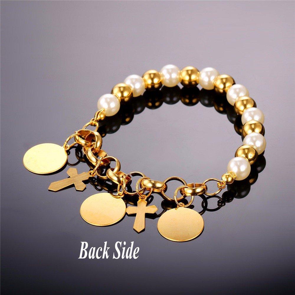 VirtualStoreUSA.com Simulated White Pearl Cross Charms Bracelet