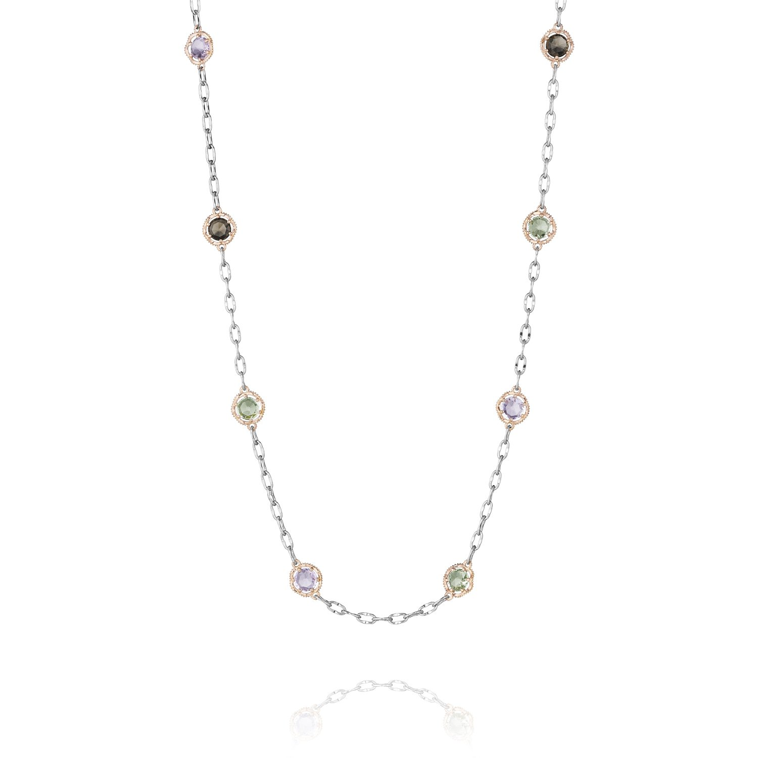Tacori SN106P Rose Gold and Sterling Silver Colored Medley Assorted Gem Station Necklace, 18''