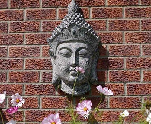 BUDDHA Head Stone Effect Garden Sculpture Wall Decor KBC SN2921