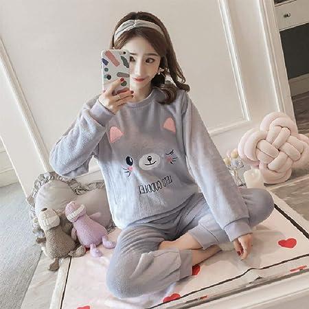 SYLOIK Pijamas Mujer Ropa de Dormir Otoño Invierno Bordado de ...