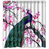 eco friendly beautiful peacock art with watercolor wintersweet flower floral art printed fabric shower curtain polyester waterproof bathroom curtains with