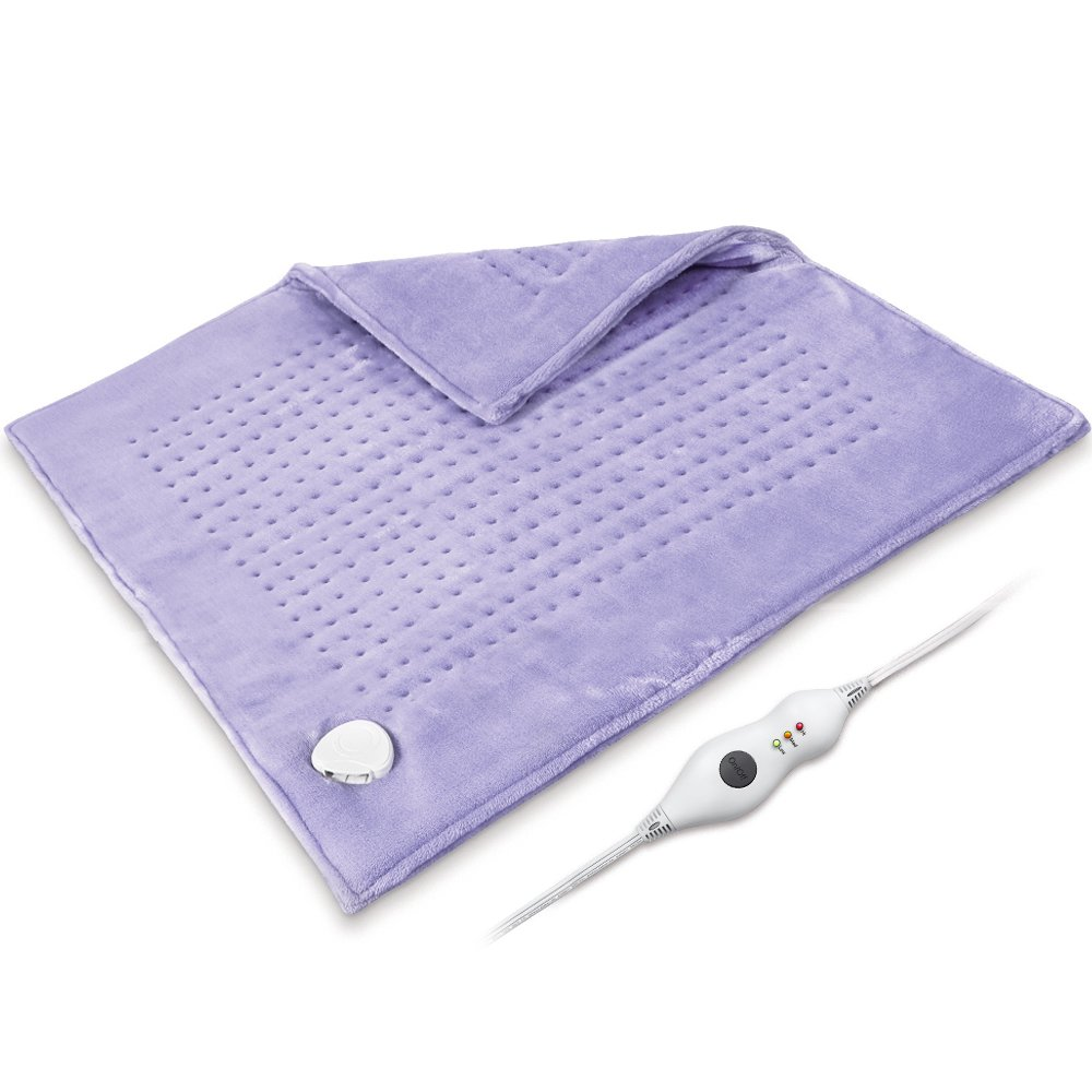 King Size Heating Pad XXXL, 23'' x 24'' 2 Sides Ultra Soft Flannel Electric Heating Pad with Auto Shut Off, Extra Large for Cramp, Back Pain Relief, Machine Washable, 10Ft Cord, Dry/Moist, Purple