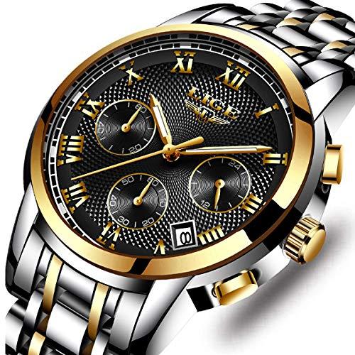 - LIGE Men's Fashion Full Steel Sport Quartz Watch Chronograph Waterproof Watch Luxury Brand Date Business Dress Watches Gents Casual Clock Silver Blue