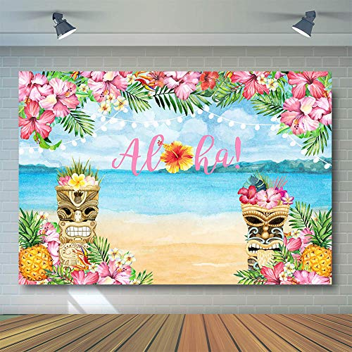 COMOPHOTO Aloha Party Backdrop Luau Hawaiian Baby Shower Photography Backdrops 7x5ft Tiki Tropical Flowers Summer Birthday Party Decorations Background]()