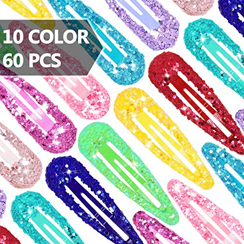 Hair Clips Wenida 60 Pcs 10 Glitter Colors 2 Inch Non-Slip Metal Snap Barrettes Hairpins