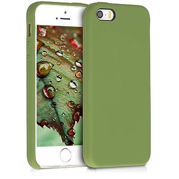 kwmobile Funda para Apple iPhone SE / 5 / 5S - Carcasa de [TPU] para teléfono móvil - Cover [Trasero] en [Verde Aceituna]