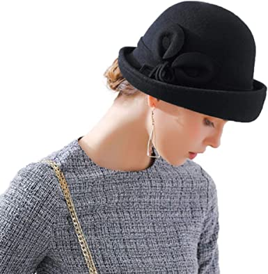 Women Calla Lily Woolen Flower Dome Curled Hat