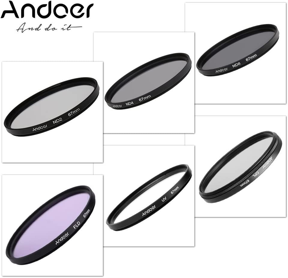 Photography Filter Kit Set Ultraviolet Circular-Polarizing Fluorescent Neutral Density Filter for Nikon Canon Sony Pentax DSLRs CPL ND ND2 ND4 ND8 Andoer 52mm UV FLD