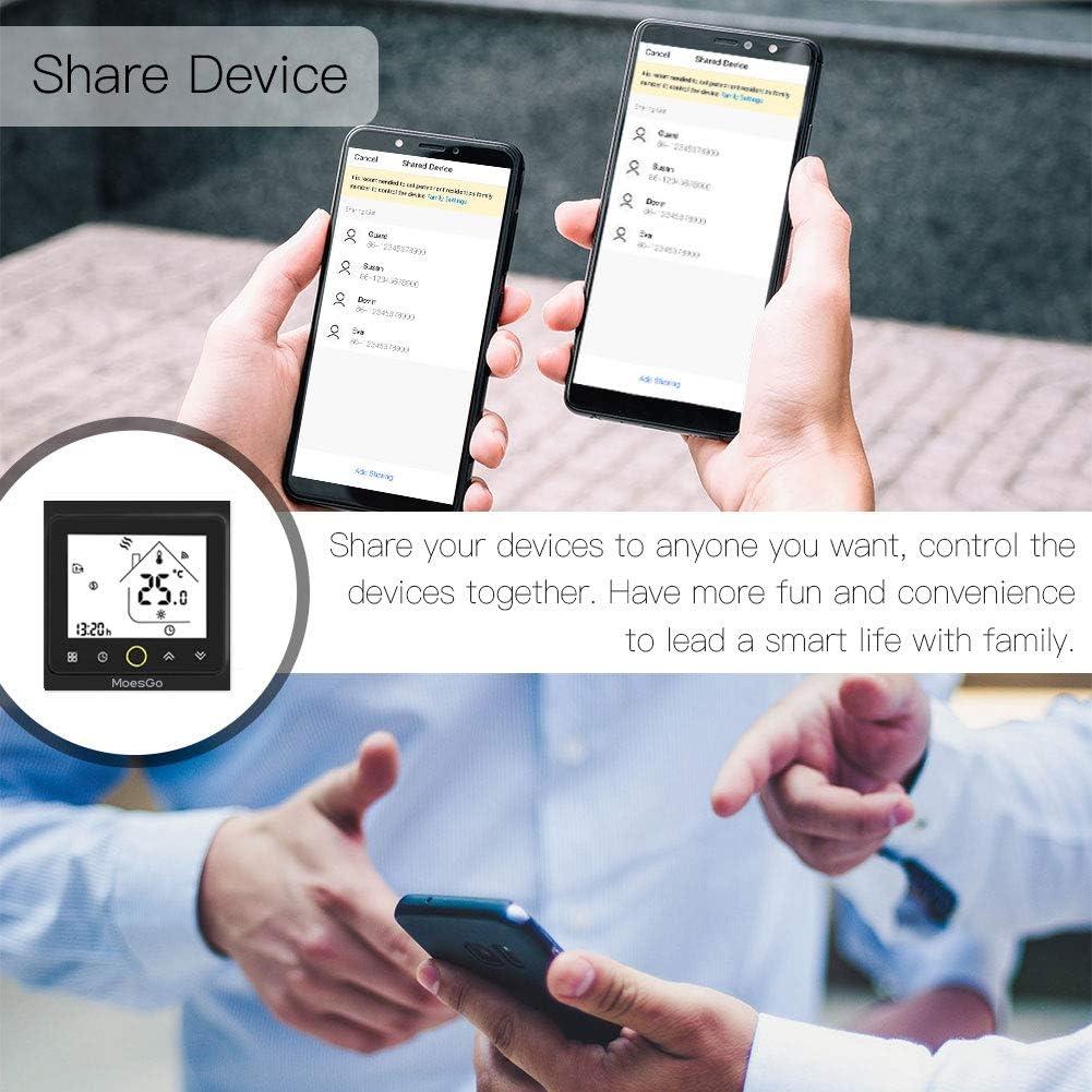 Noir compatible avec lapplication Smart Life//Tuya et les syst/èmes Alexa et Google Home MoesGo Thermostat intelligent et programmable avec fonction WiFi pour chauffage /à eau chaude