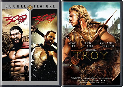 Ancient Battle Action Movie Triple Feature - Troy & 300 & 300 Rise of an Empire -