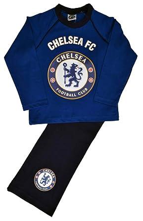 Chelsea FC Boys Kids Long Pyjamas Night Sleepwear Lion Crest Badge Blue Official