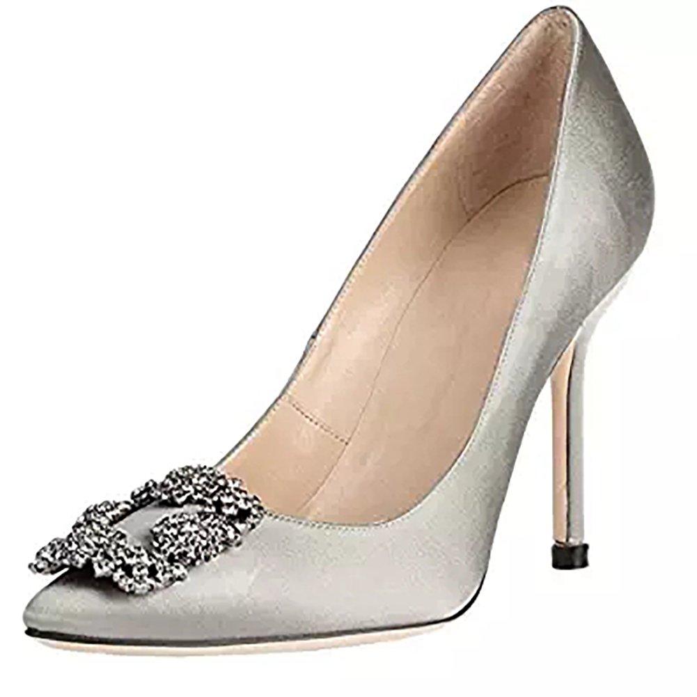 Arraysa Mujer sinoel Tacón De Aguja 12CM Satén Ponerse Zapatos de Tacón 45 EU|Gris