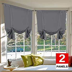 H.VERSAILTEX Blackout Energy Efficient Tie Up Shades Home Decor Rod Pocket Panels for Small Window (42W x 63L, Medium Grey, 2 Panels)