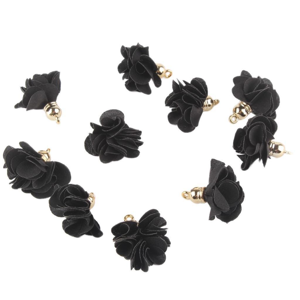 Homyl 10piezas Pendientes de Collar Colgante de Flores de Tela Joyería de Bricolaje - Regalo[Negro]