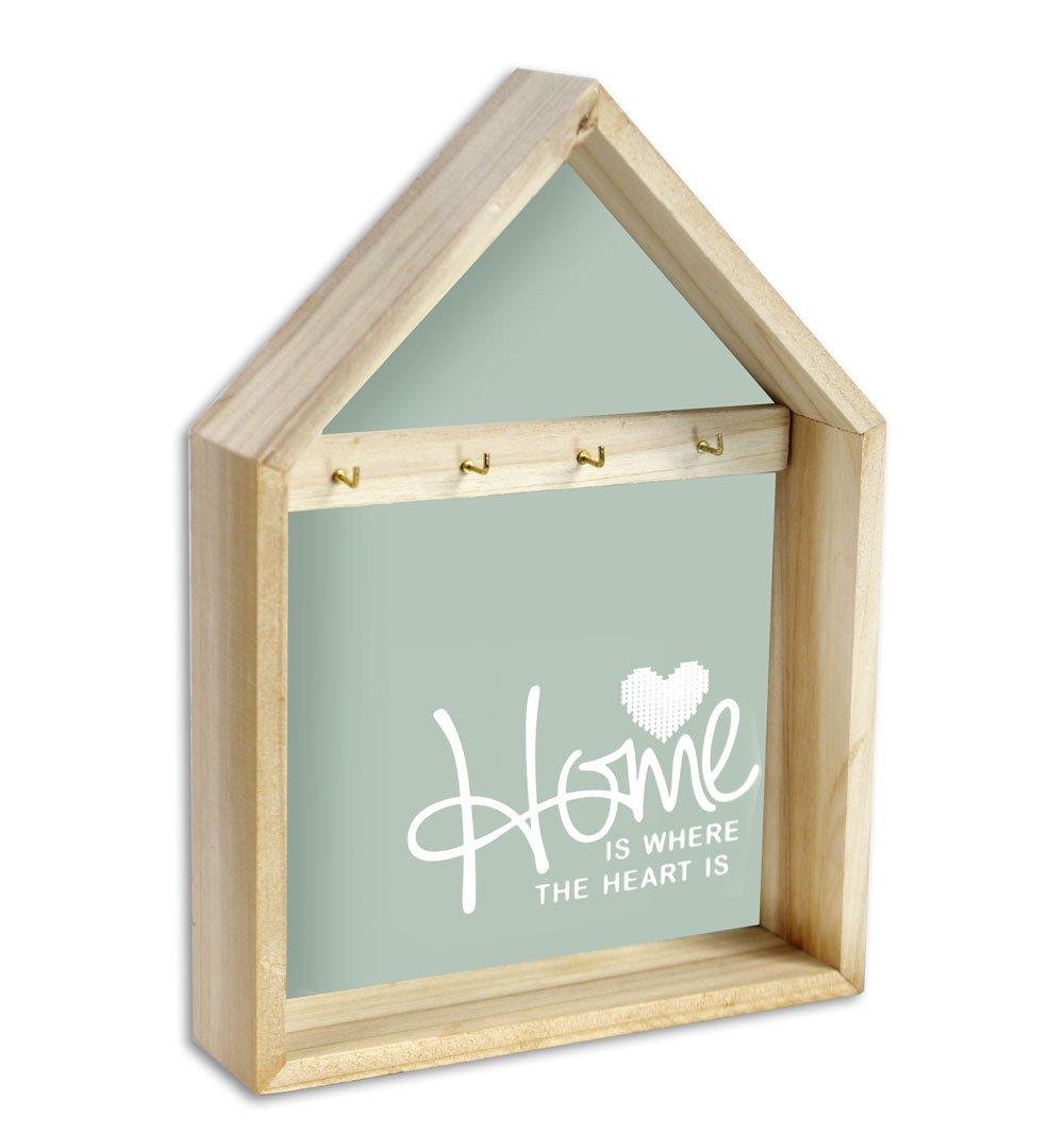Vetrineinrete® Cassetta portachiavi in legno 2 4 ganci appendichiavi porta chiavi da parete muro da casa 720727 G16 (2 ganci) Vetrine in rete